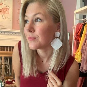 Large Ivory Acrylic Statement Earrings NEW